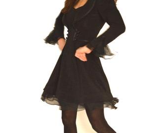 80s Cache Dress Little Black Party Dress Sz XS - S 24 Inch Waist