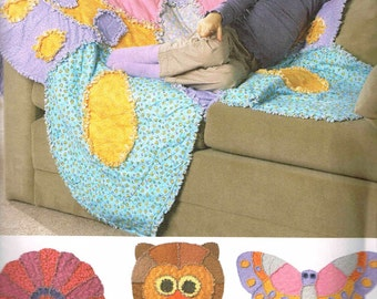 Rag Quilt Owl Butterfly Flower Simplicity 2935 Playroom Sewing Pattern Longia Miller Design Quilted Animals Uncut