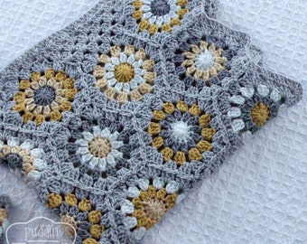 Crochet Baby Blanket - Granny Square - Baby Blankets - Yellow Gray Nursery - Mustard Yellow Baby - Granny Baby Blanket