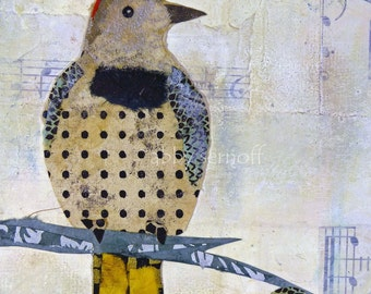 Bird Art Fine Art print of Original Mixed Media Collage Northern Flicker