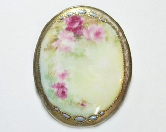Huge Floral Antique Victorian Porcelain Brooch - Hand Painted - Pin - Roses - 1890s