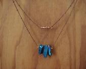 Aura Quartz & Rose Pyrite Two Tier Copper Necklace