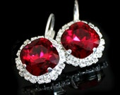 Ruby Red Swarovski Crystals Framed with Halo Crystals on Silver Leverback Earrings