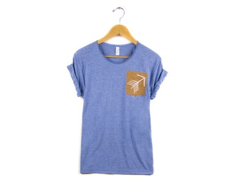 Tribal Arrow Pocket Tee - Boyfriend Fit Scoop Neck Tshirt with Rolled Cuffs in Rust & Heather Blue - Women's Size S-4XL
