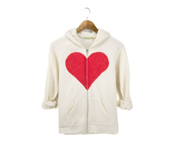 Heart Breaker Hoodie - Fleece Long Sleeve Hooded Zip Sweatshirt in Heather Cream and Red - Women's Size S-XL