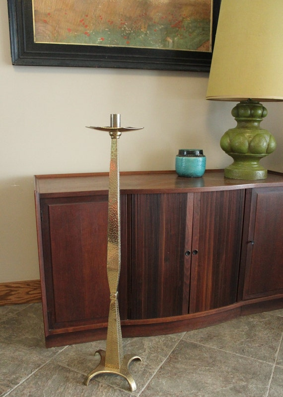 Vintage Mid Century Modern Hammered Brass Floor Candleholder