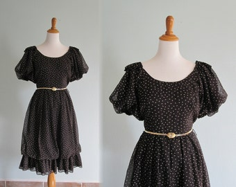 Vintage 1980s Dress - Black and Gold Polka Dot Flounced Cotton Dress - 80s does 50s Black Rockabilly Dress S M