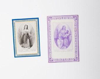 French antique religious prayer cards - Catholic communion cards