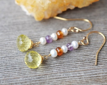 Lemon Quartz Gold Earrings - 14k gold filled - Multi Gemstone, Citrine, Amethyst, Freshwater Pearl - Wire Wrapped - Micro Faceted - Dangle