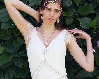 Giselle Wedding Body Chain Necklace, Bohemian Bridal Body Jewelry, Statement Jewelry, Boho Wedding Jewelry Bridesmaid Gypsy Body Chain