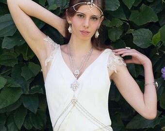 Giselle Wedding Body Chain Necklace, Bohemian Bridal Body Jewelry, Beach Wedding Body Jewelry, Summer Wedding Bridesmaid Gypsy Body Chain