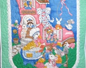 Baby Quilt, Quilted Stroller Blanket, Vintage Print Panel, Mother Goose Nursery Rhyme