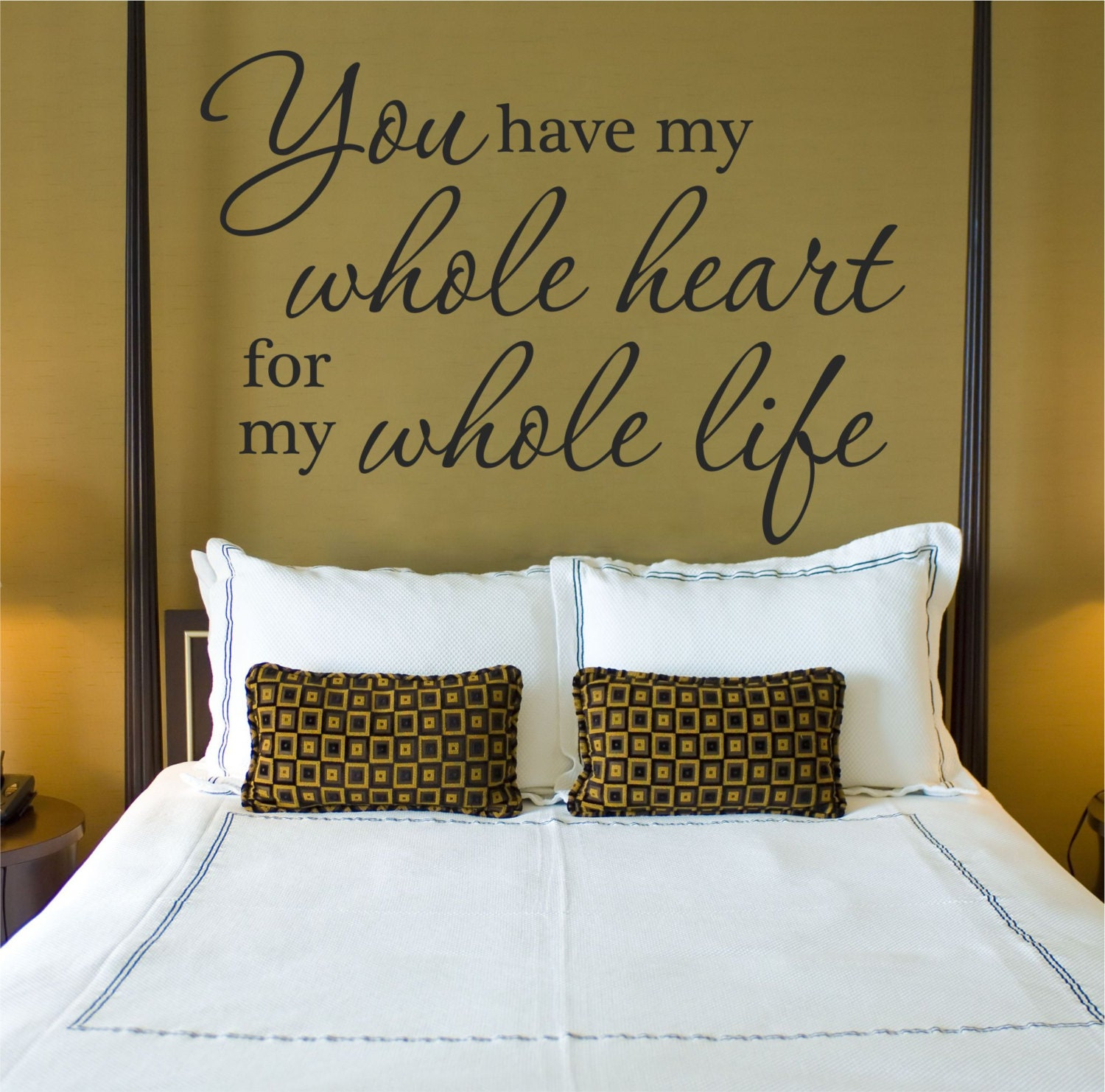 Vinyl Wall Quotes For Master Bedroom : My whole heart master bedroom wall decal vinyl quote