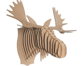Moose head etsy - Cardboard moosehead ...