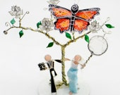 Butterfly Hunting- Custom Wedding Cake Topper