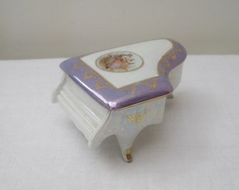 Vintage Porcelain Ceramic Grand Piano Box