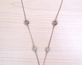 Sale...Breathtaking & Rare Jade and Sterling 925 Drop Necklace. Perfect Jewelry Gift. Gift for her. ETSY Gift. Birthday Jewelry Gift
