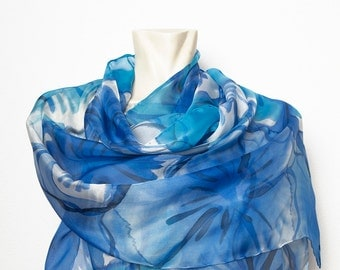 Present Extra Large 21.7 X 61 Hand Painted Pure Silk Chiffon Scarf with Cyan Blue Abstract Anemones Poppies Background