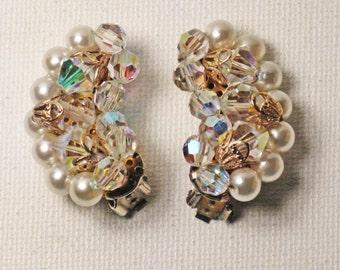Vintage Faux Pearl Crystal Aurora Borialis Clip Earrings  (E-1-3)