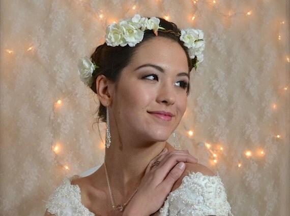 Bridal Crown Vine floral Headpiece Hair wreath White Rose Bridal Head wreath garden rose flower crown, ribbon tie headpiece woodland wedding