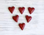 Magnets, Magnets Set, Red Hearts, Heart Magnet, Wedding favors, Cottage Chic, Valentine Hearts, Stocking Stuffers,  Salt Dough Magnets