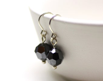 Hematite | Minimal Swarovski Crystal Earrings in Sparkly Charcoal Gray with Sterling Silver | Comfortable, Everyday Earrings | Drops by Azki