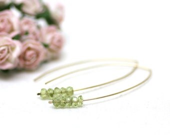 Light Green Peridot Gemstone Earrings on Hammered Gold | Minimal Marquise Earrings | Modern, Simple, Elegant Jewelry | Handmade by Azki