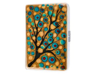 Metal Cigarette Case Hand Painted Gold Turquoise and Red Enamel Blossom Inspired Metal Wallet with Personalized Options