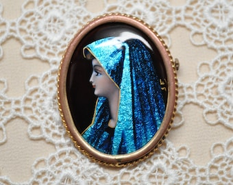 Vintage Hand Painted Enamel and Foil Brooch Mother Mary Made in Paris France