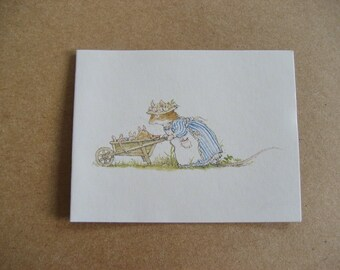 2 Brambly Hedge Gift Cards Jill Barklem Mouse Wheelbarrow 1982