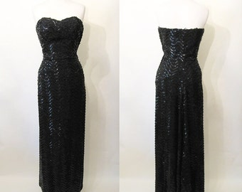"Glamorous 1950's Designer Black Sequin Strapless Gown w/ Fish Tail Party Dress by ""Robert Gold berg"" Shelf Bust Hollywood Glamour Size-Small"