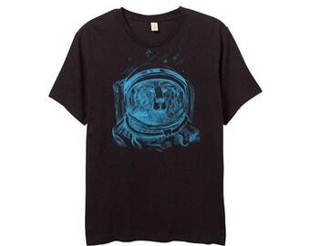 Mens Space Bear Shirt - Black Shirt - Blue Print - Small, Medium, Large, XL, 2XL - Guys Bear Shirt
