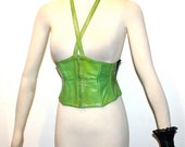 LAGERFELD Vintage Patent Leather Belt Lime Green Halter Corset - AUTHENTIC -