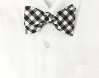 Harvey - Black/White Gingham Men's Pre-Tied Bow Tie Or Self-Tied Bow Tie