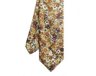 Lilac 02 - Peach/Purple Floral Men's Tie