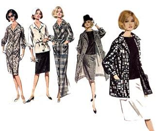 60s Skirt Jacket Shirt Dress Pattern Butterick 3034 Maxi Shirtdress Vintage Sewing Pattern Size 16 Bust 36 Inches