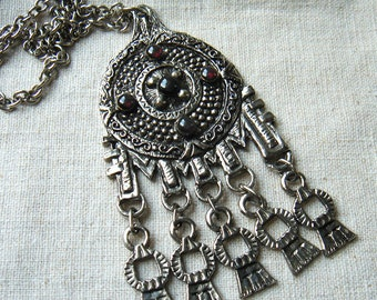 Vintage large necklace medallion pendant with metal dangles red cabochons gypsy boho tribal bohemian