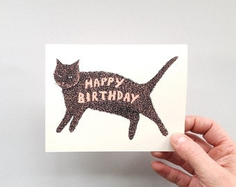 HAPPY BIRTHDAY KITTY - Screen Printed Greeting Card