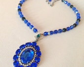 Glass Faceted Royal Blue Czech Pendant Necklace – Vintage Jewelry