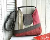 Handbag Shoulder recycled tissus / Brown, Pink, Beige, Green / Bag adjustable gimps / eco bag design # 156
