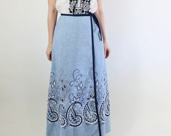SALE - Vintage 70s Pastel Blue Paisley Embroidered Boho Bohemian Wrap Maxi Festival Skirt