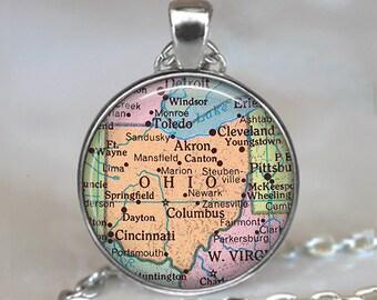Ohio map pendant,  Ohio map necklace, Ohio pendant, Ohio necklace, vintage map jewelry, vintage map necklace keychain key chain