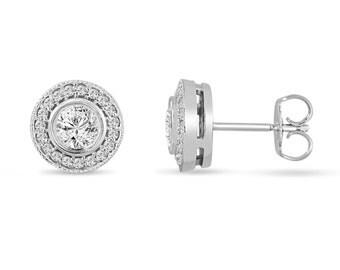 Platinum Diamond Stud Earrings Halo 0.84 Carat Bezel And Micro Pave Set Handmade