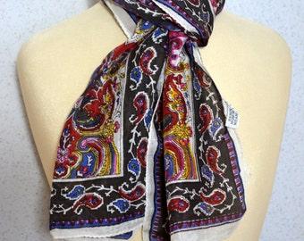 Long vintage scarf: Indian Modern Paisley Arabesque White, Black, Pink, Blue