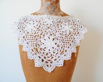Vintage wedding lace collar whitework
