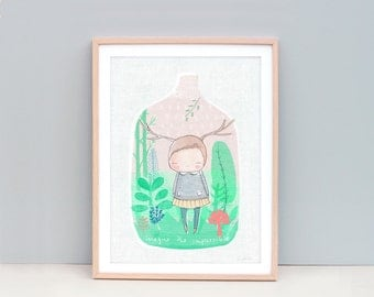 "A3, 11x14"" or A2, Cute Nursery Art, Deer girl inside a whimsical terrarium garden. Inspirational quote - Imagine the impossible"