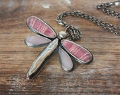 Rhodochrosite, Pink Opal, Freshwater Pearl, Sterling Silver, Dragonfly, Pendant Necklace... Easy Sweeps of Sky...