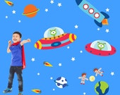Space Wall Decals Non-toxic REUSABLE Fabric Wall Decals Boy Decal, A105