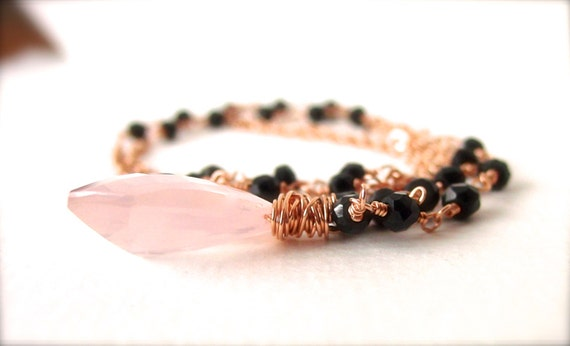 SALE Rose Quartz Black Spinel Rosary Rose Gold Necklace