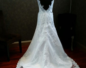 Lace Wedding Dress with Straps and Open Heart Shaped Back Keyhole